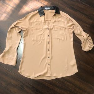 Express Tan & Faux Leather Collar Portofino Shirt